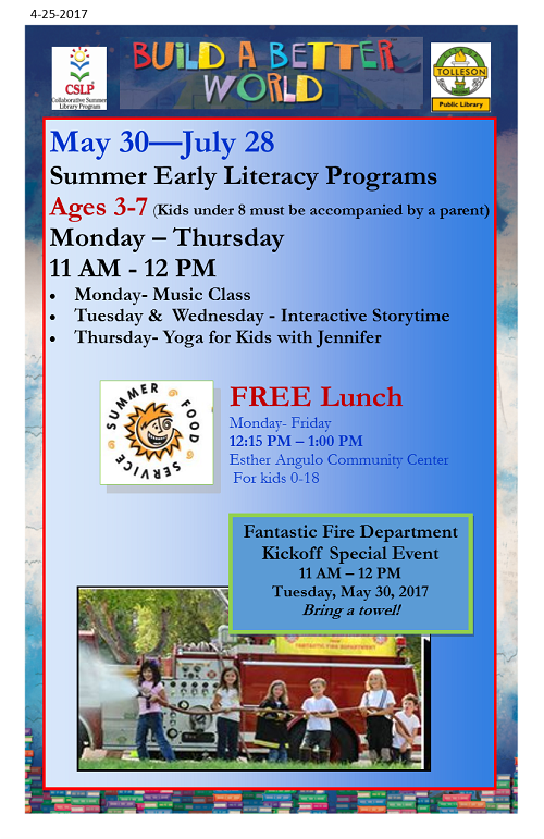 SRP Early Literacy Program Flyer Ages 3-7