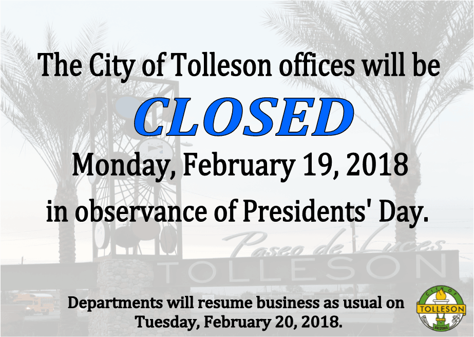 City Hall Closed in observance of Presidents' Day.
