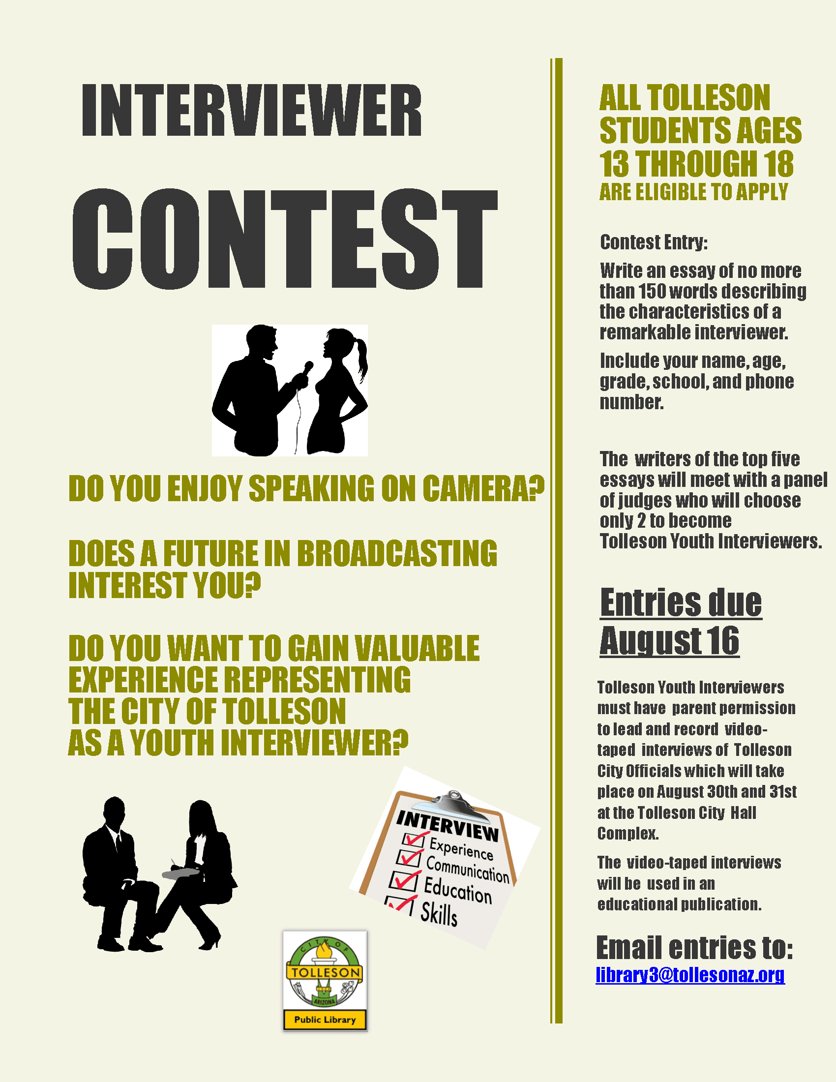 Interviewer Contest Flyer to Post