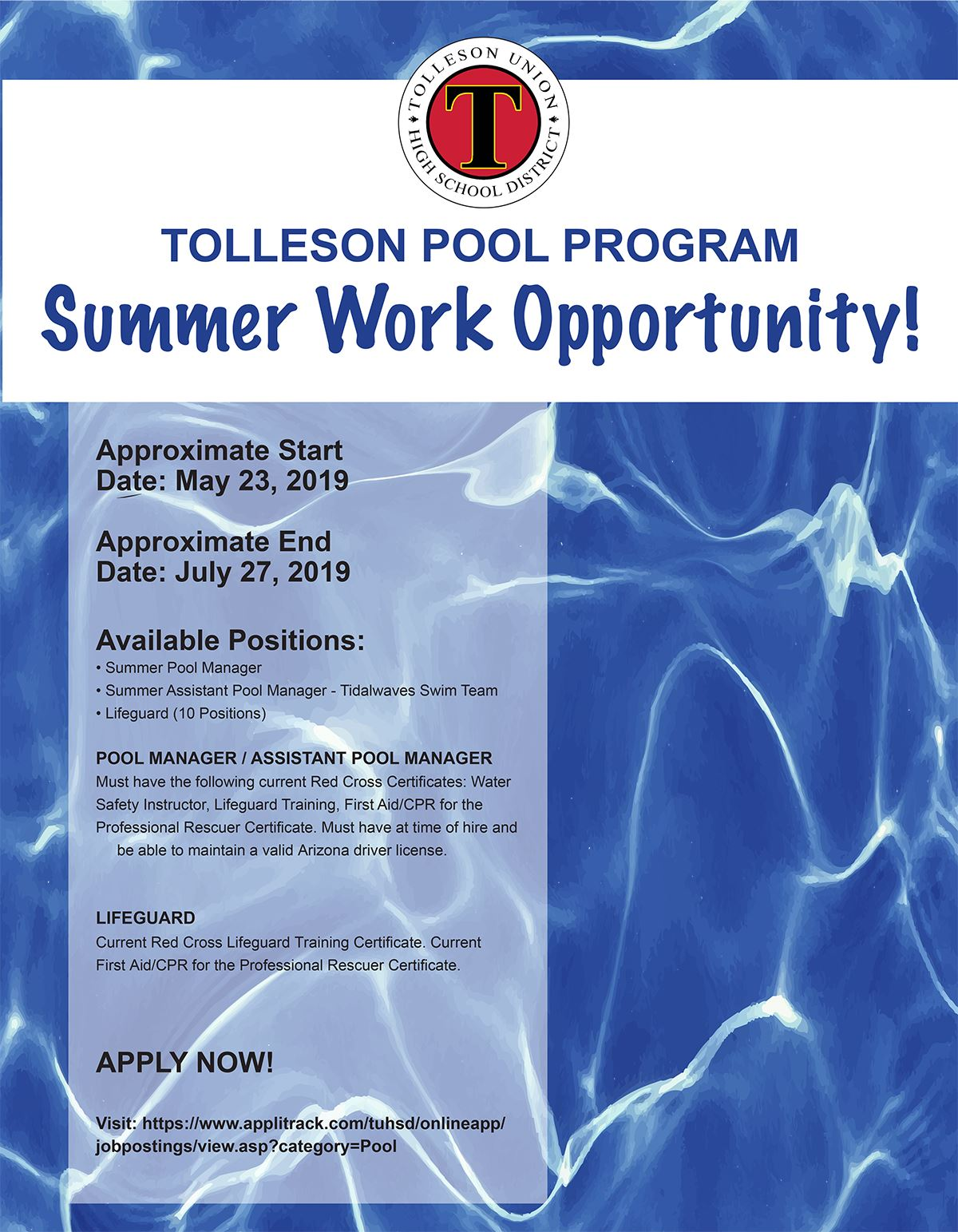 2019 TUHSD Pool Positions