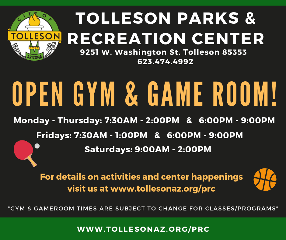 Open Gym and Game Room for Community