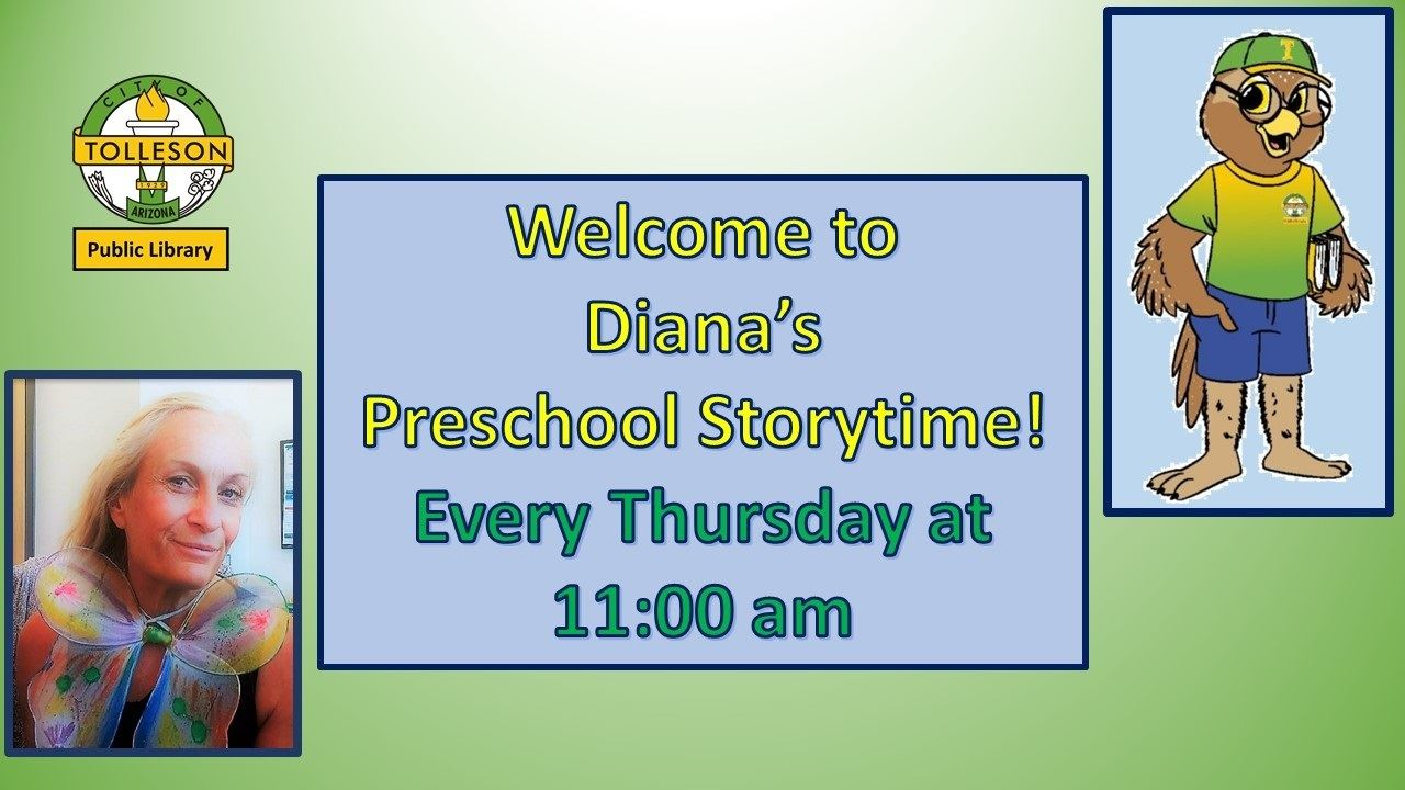 Preschool Storytime Thursdays at 11 on Zoom. Picture of storyteller and library mascot Ollie the owl