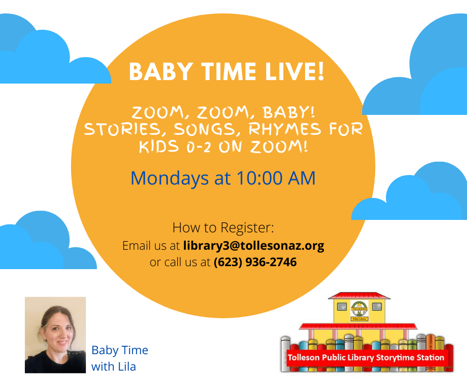 Baby Time Live! on Zoom Mondays at 10. Image of sun, clouds, and a train.