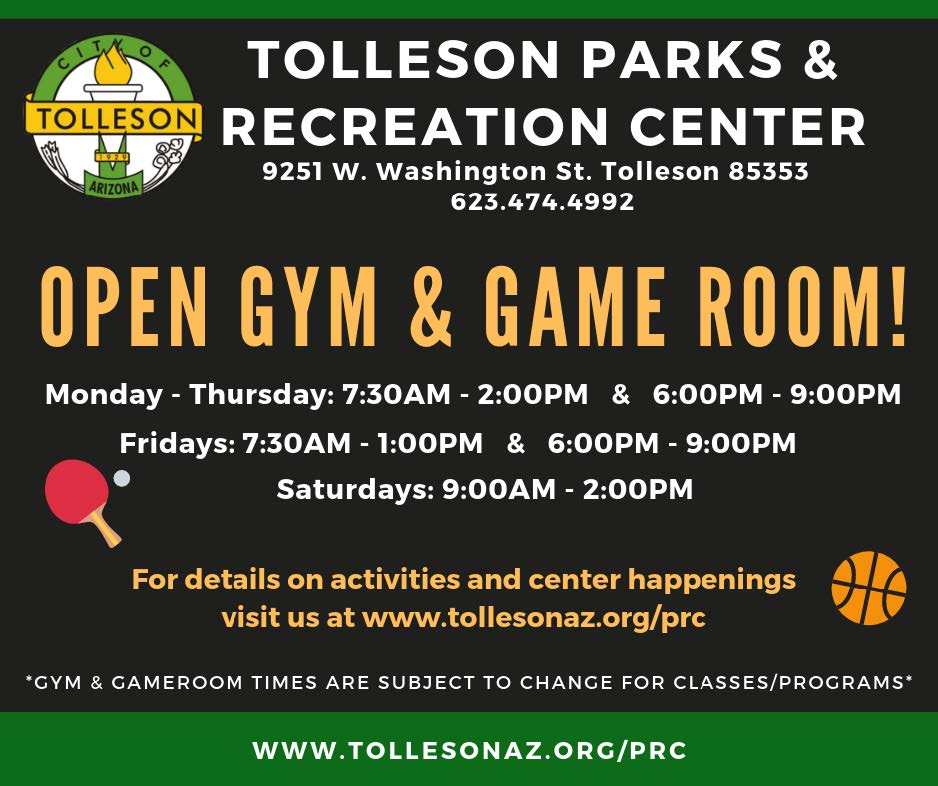Tolleson Parks & Recreation Open Gym for October 2019