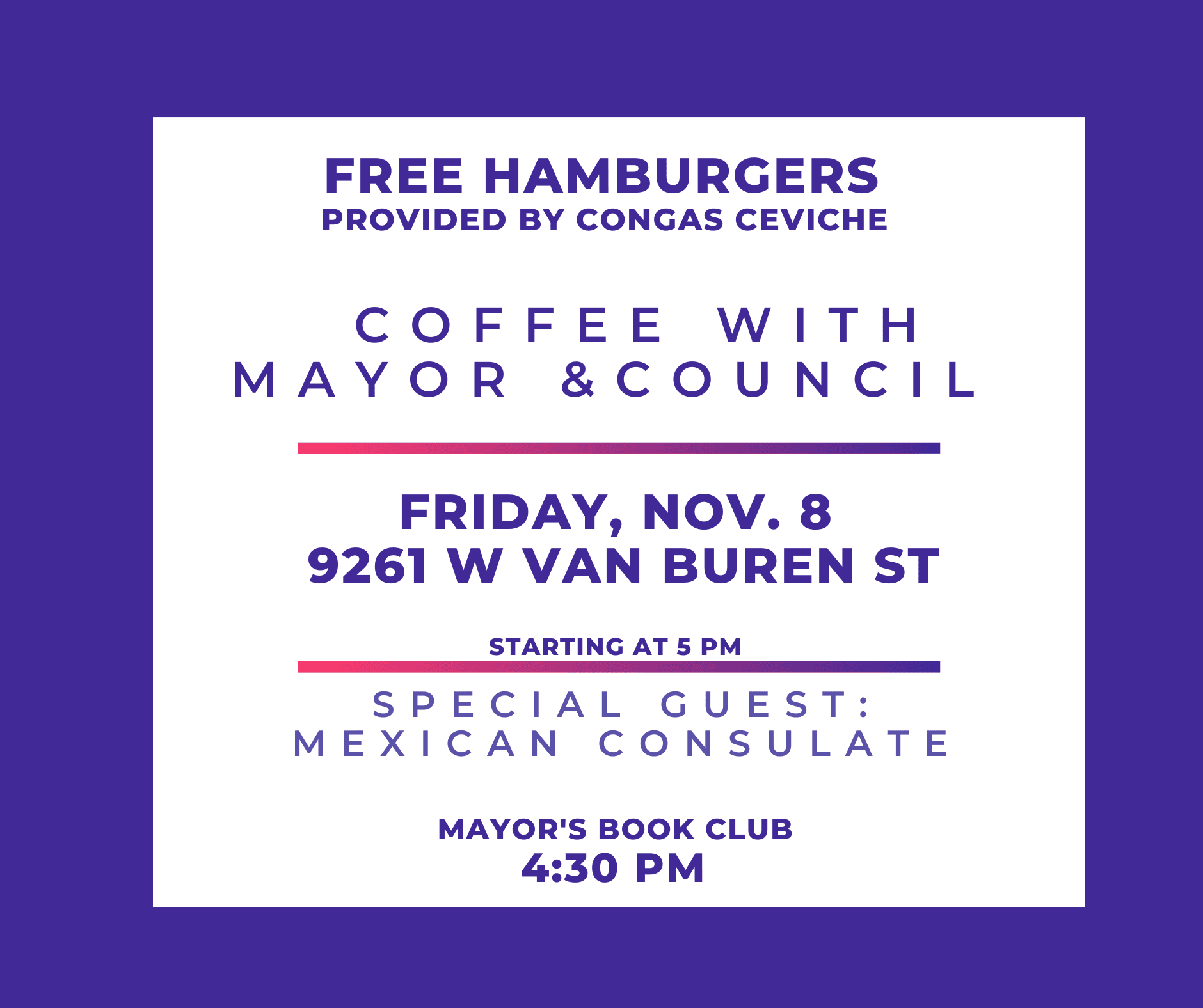 Coffee with Mayor and Council Nov 8
