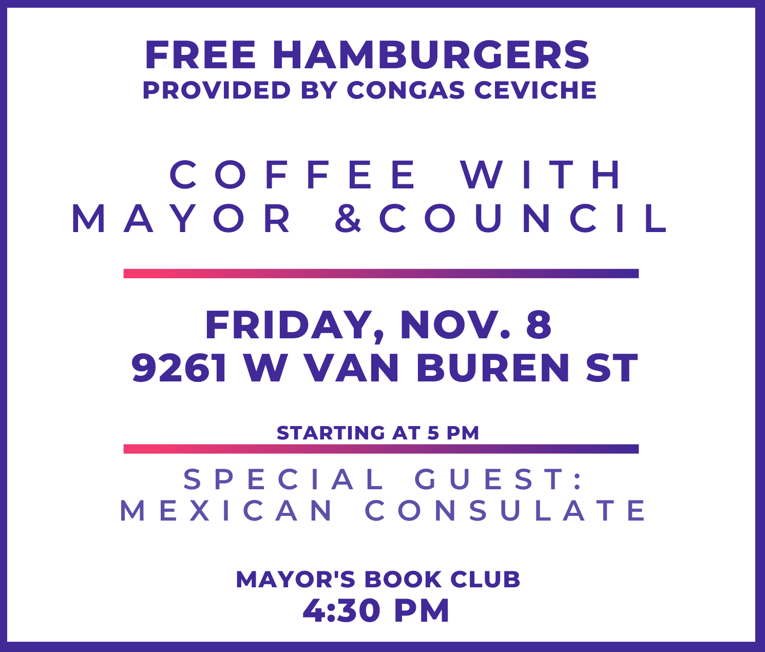 Coffee with Mayor and Council Nov 8 2019