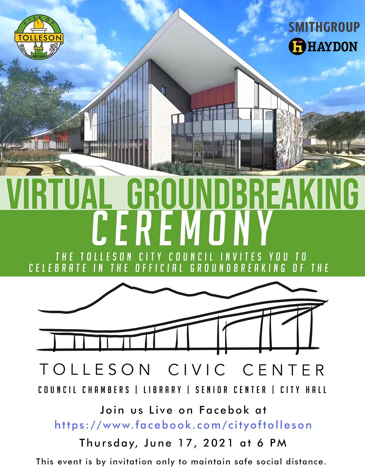 Tolleson Virtual Groundbreaking Ceremony Invitation 6.17.2021 6PM
